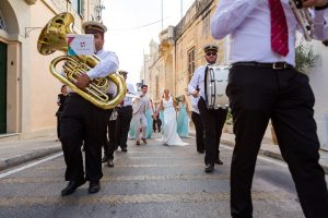 Village Brass band during a wedding in Malta