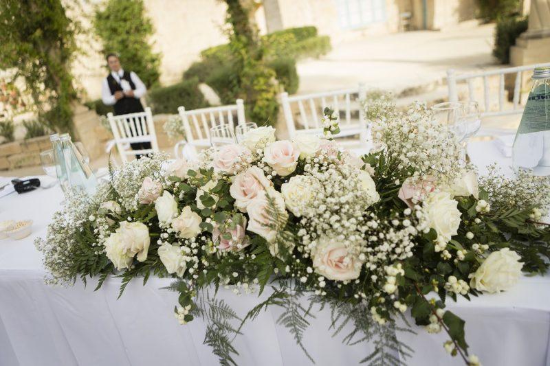 Blush coloured flower arrangement